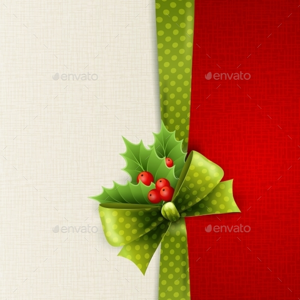 Christmas Card with Bow and Holly - Christmas Seasons/Holidays