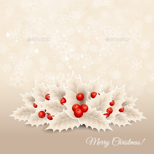Vector Christmas Background With  Bow And Holly - Christmas Seasons/Holidays