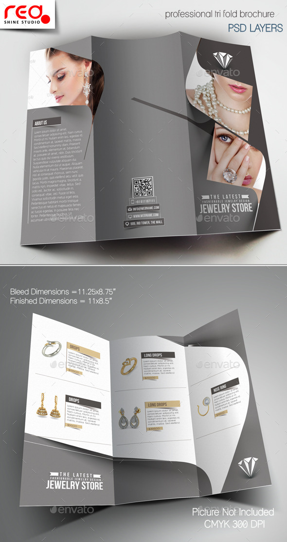 Jewelry Store Trifold Brochure Template 1 By Redshinestudio