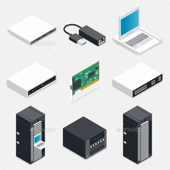 Networking Isometric Detailed Icons Set - Computers Technology