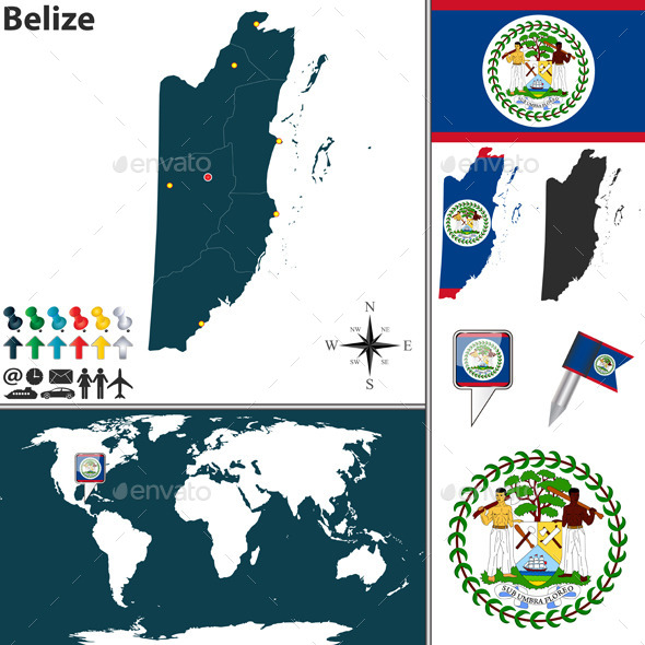 Map of Belize - Travel Conceptual