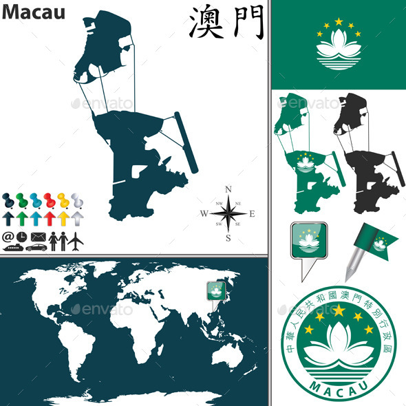 Map of Macau - Travel Conceptual