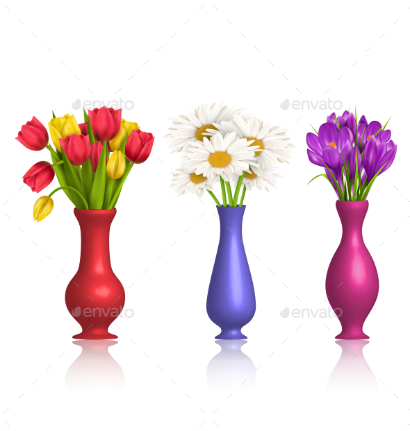 Tulips Chamomiles and Crocuses in Vases on White - Flowers & Plants Nature