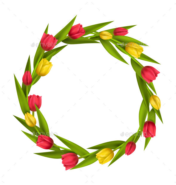 Circle Frame with Red and Yellow Tulips Flowers - Flowers & Plants Nature