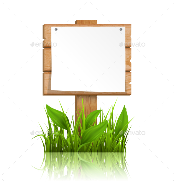 Wooden Signpost with Grass Paper and Reflection - Man-made Objects Objects