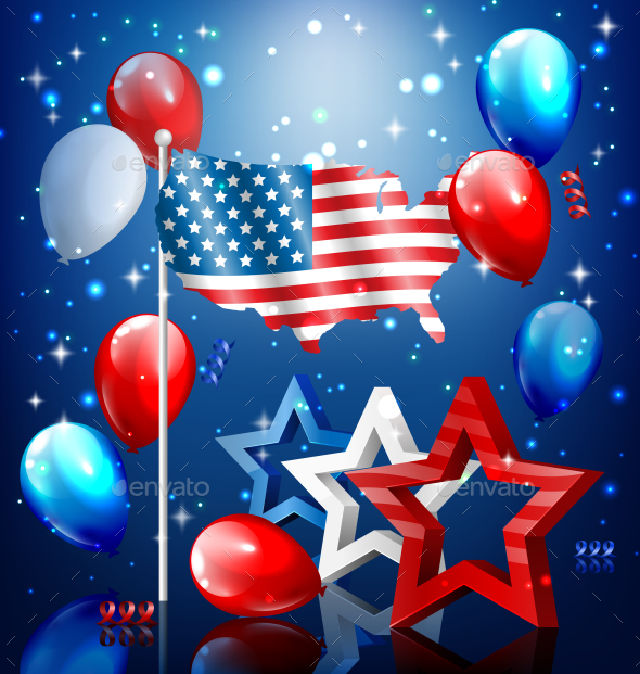 USA Nation Flag Map Stars and Balloons - Miscellaneous Seasons/Holidays