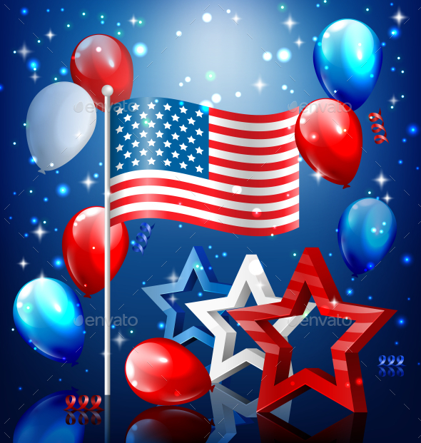 USA Nation Flag with Confetti and Balloons - Miscellaneous Seasons/Holidays