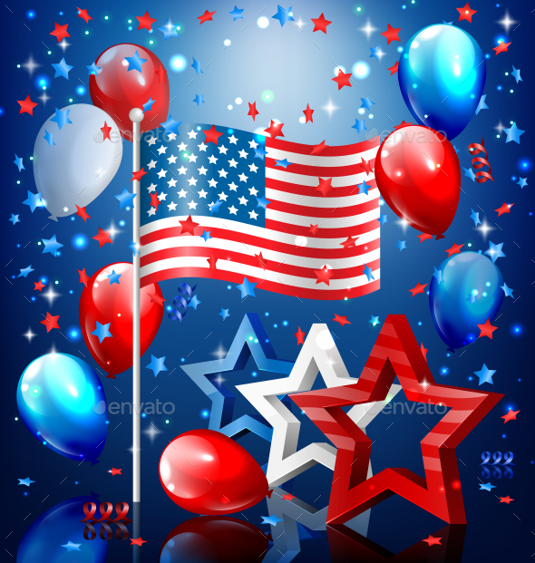 USA Nation Flag with Stars and Balloons - Miscellaneous Seasons/Holidays