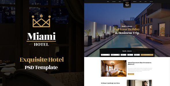 Miami - Exquisite Hotel PSD Template - Travel Retail