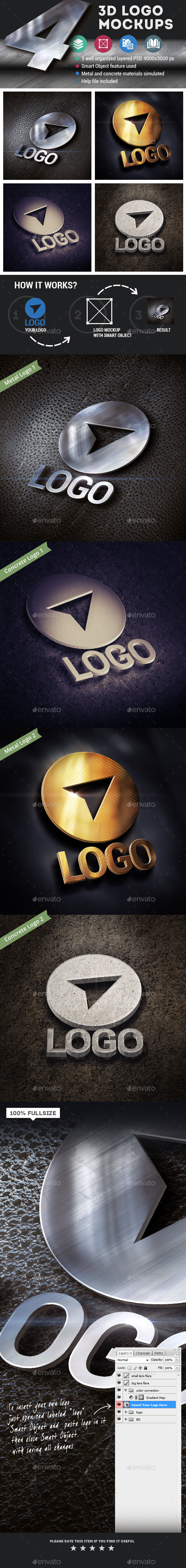 4 3d Logo Mockups - Logo Product Mock-Ups