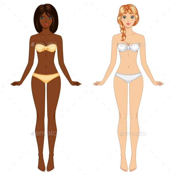 Two Young Barefoot Girls - People Characters
