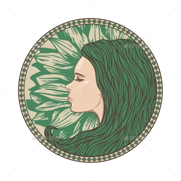 Vintage Girl Portrait in Ornate Circle Frame - People Characters
