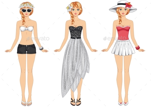Girls in Summer Clothes - People Characters