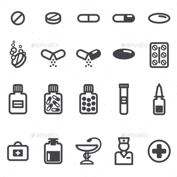 Pills and Capsules Icons Set - Health/Medicine Conceptual