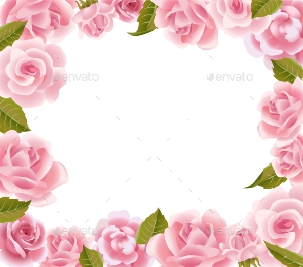 Frame From Pink Roses  - Flowers & Plants Nature