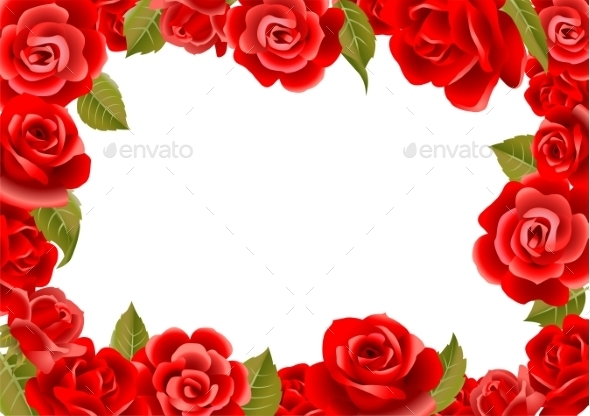 Frame From Red Roses  - Flowers & Plants Nature