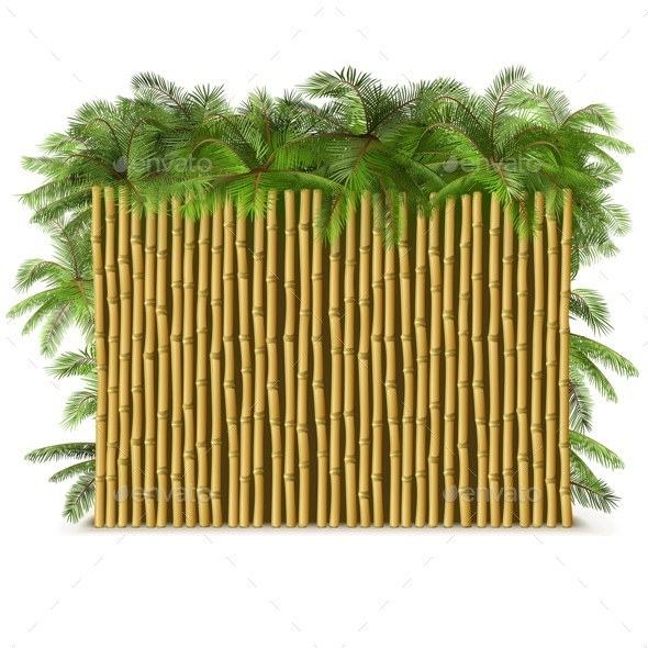 Bamboo Fence with Palm - Backgrounds Decorative