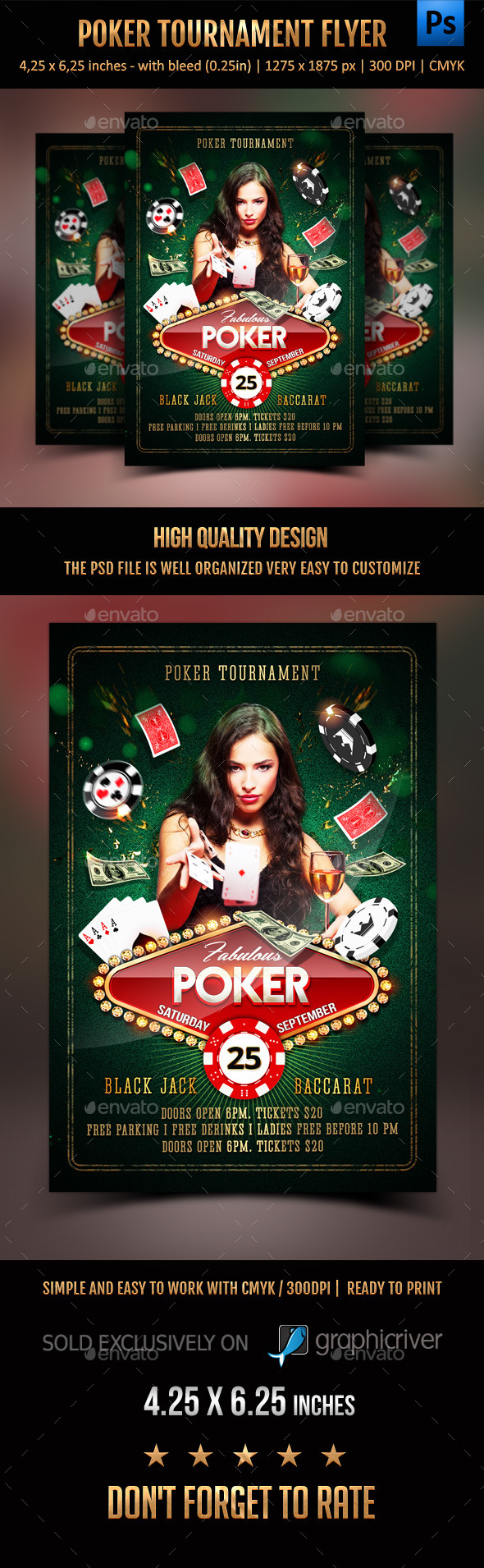 Poker Tournament Flyer - Clubs & Parties Events