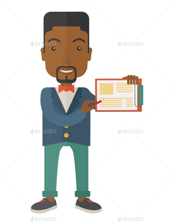 Guy Holding Clipboard - Concepts Business