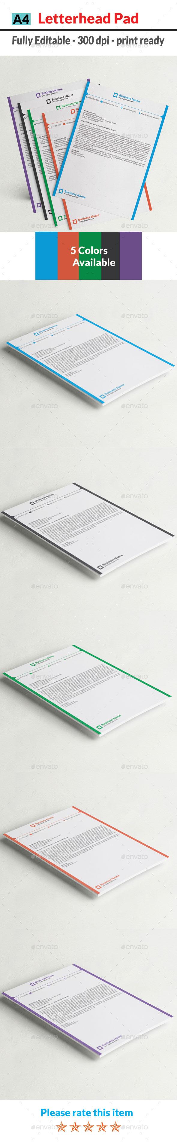 Letterhead Pad - Stationery Print Templates