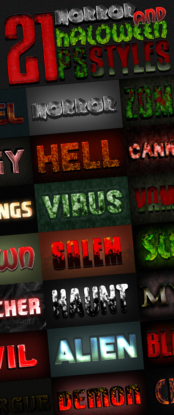 Photoshop Text Styles Bundle / Horror Pack - Styles Photoshop