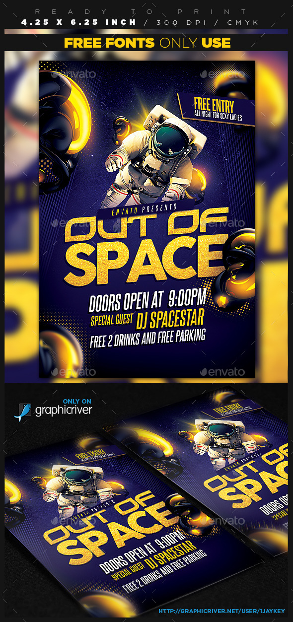 Out of Space Party Flyer - Clubs & Parties Events