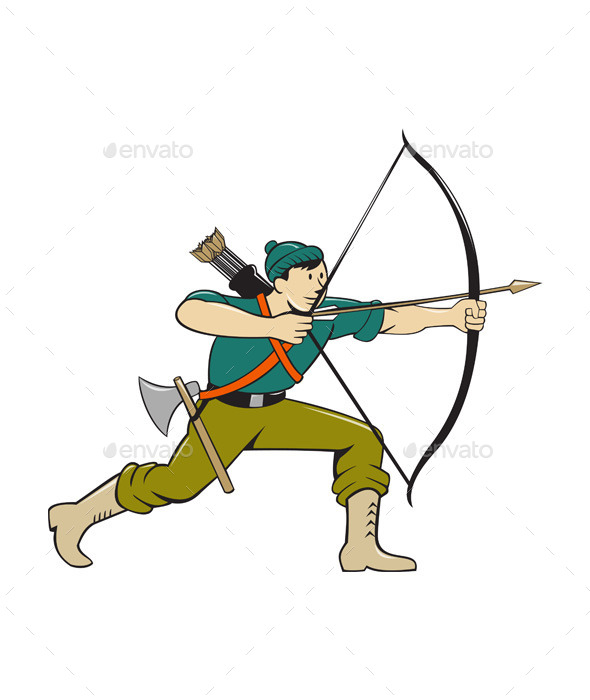 Archer Aiming Long Bow Arrow Cartoon - Sports/Activity Conceptual