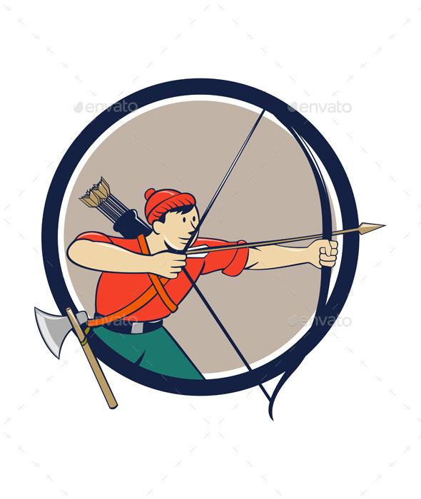 Archer Aiming Long Bow Arrow Cartoon Circle - Sports/Activity Conceptual
