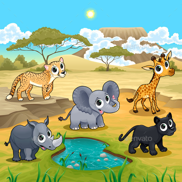 Set of Wild Animals in Nature - Animals Characters