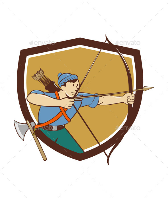 Archer Aiming Long Bow Arrow Cartoon Crest - Sports/Activity Conceptual