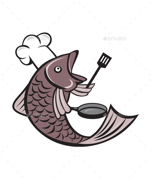 Fish Chef Holding Spatula and Frying Pan Cartoon - Animals Characters
