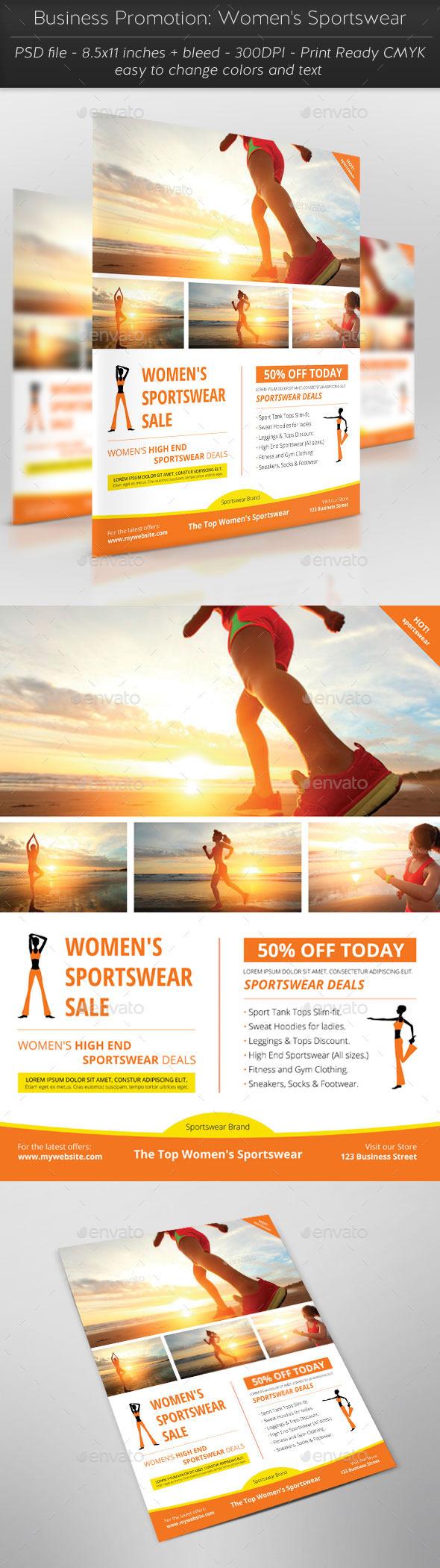 Business Promotion: Women's Sportswear - Flyers Print Templates