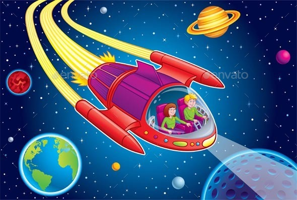 Teens Blasting Through Outer Space - Travel Conceptual