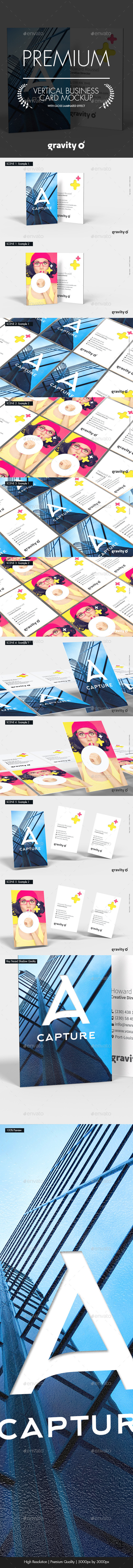Vertical Business Card Mockup - Product Mock-Ups Graphics