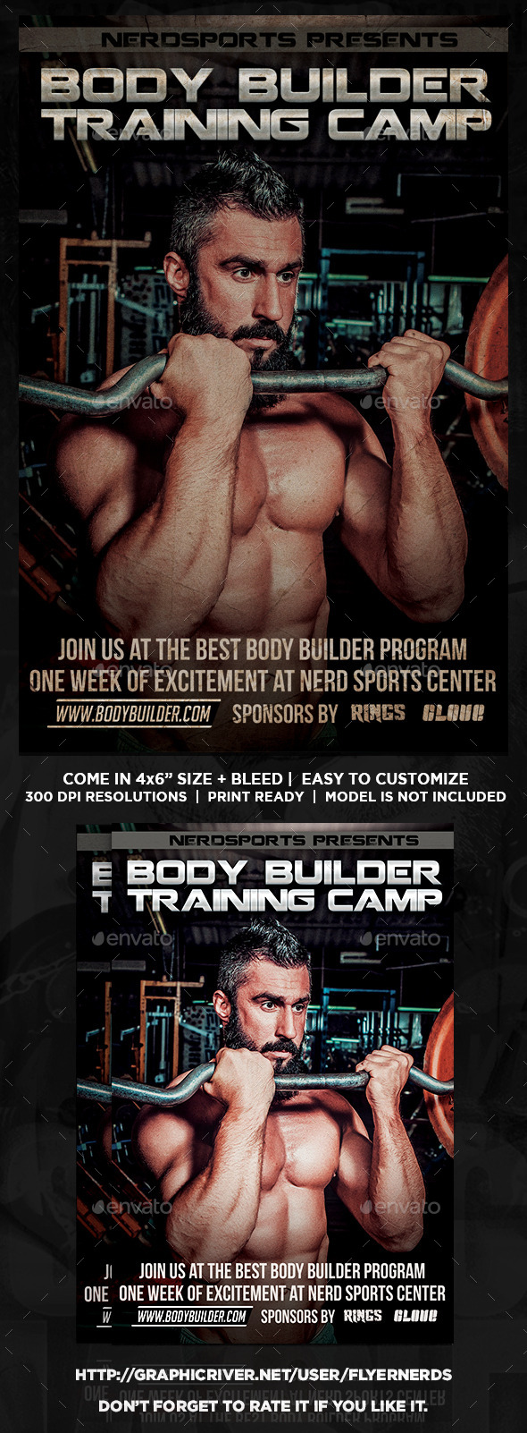 Body Builder Training Camp Sports Flyer  - Sports Events