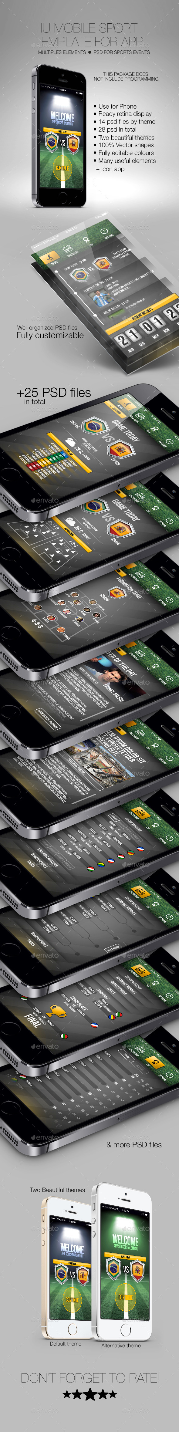 IU Mobile Sport Template for App - User Interfaces Web Elements