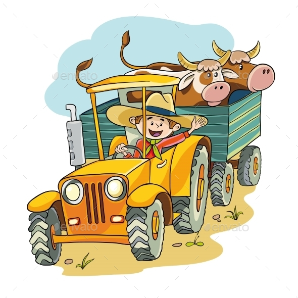 Farmer in Tractor - Food Objects