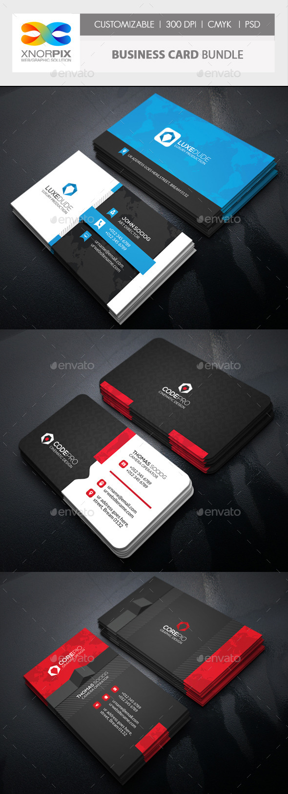 Business Card Bundle 3 in 1-Vol 54 - Corporate Business Cards