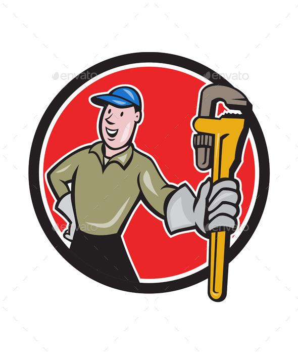 Plumber Presenting Monkey Wrench Circle Cartoon - People Characters