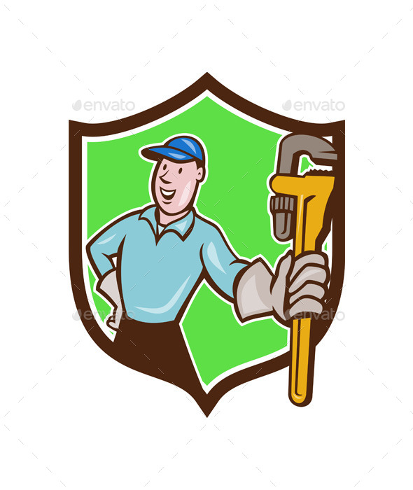 Plumber Presenting Monkey Wrench Shield Cartoon - People Characters