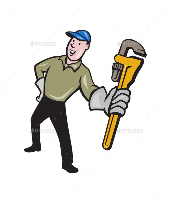 Plumber Presenting Monkey Wrench Isolated Cartoon - People Characters