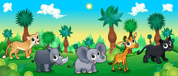 Green Forest with Wild Animals - Animals Characters