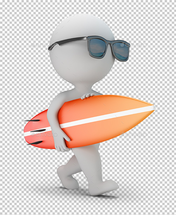3D Small People - Walk with a Surfboard - Characters 3D Renders