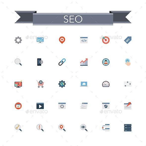 SEO Flat Icons - Web Icons