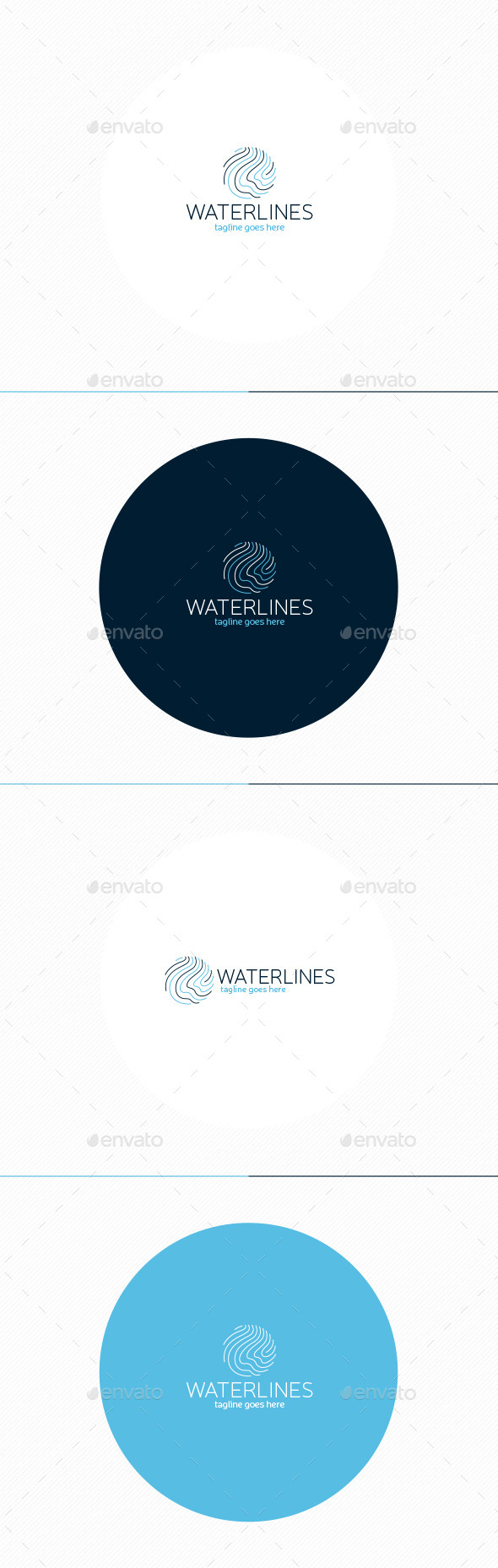 Water Lines Logo - Vector Abstract