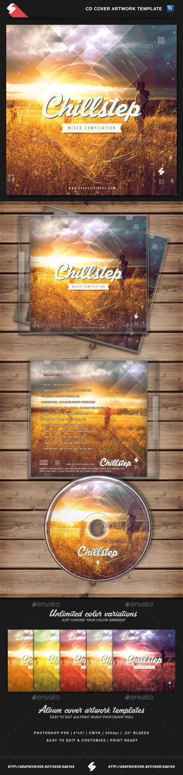 Chillstep - CD Cover Artwork Template - CD & DVD Artwork Print Templates