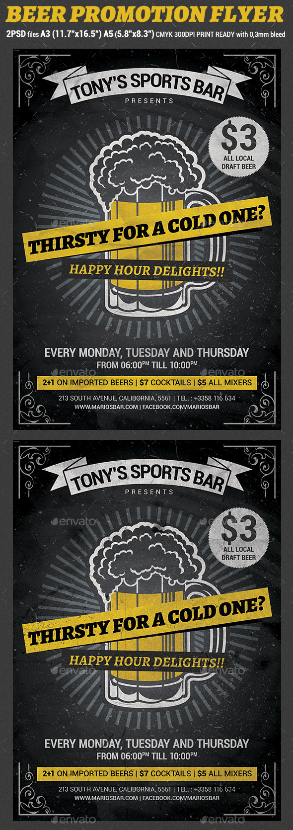Beer Promotion Happy Hour Flyer Template v2 - Clubs & Parties Events