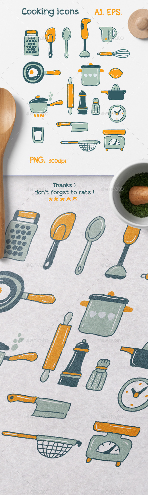 Handdrawn Cooking Icons - Food Objects