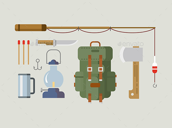 Fishing Hunting Items Flat Design - Man-made Objects Objects
