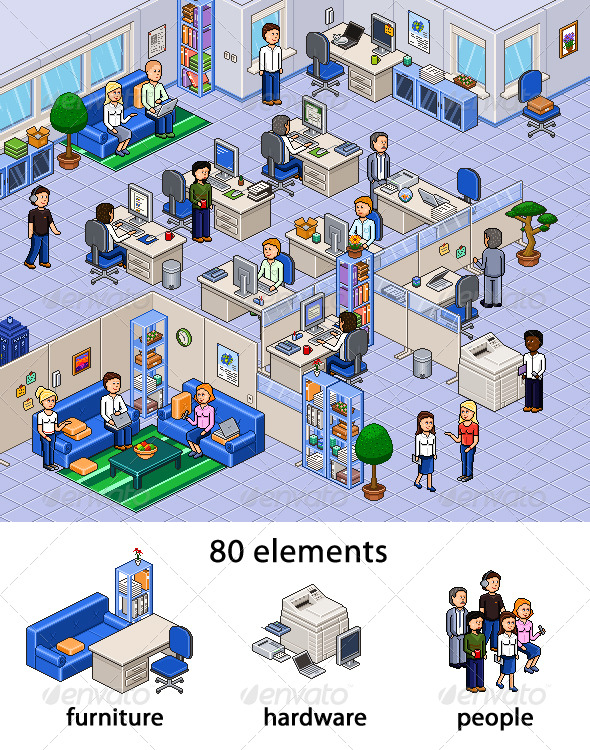 Pixel Art Office Set - Business Illustrations